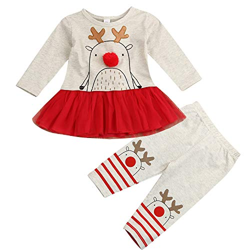 Newborn Infant Baby Girl Xmas Outfit Lace Tutu Dress Top Funny Reindeer Pattern Pants Toddler 2 Pcs Clothes Set (4T / 5T, Beige)