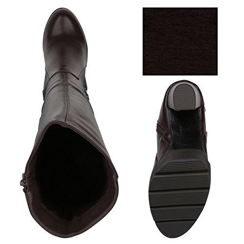 Stiefelparadies Damen Stiefel Leder-Optik Plateau Stiefel Schnallen Gefütterte Boots Blockabsatz Plateauschuhe Flandell Dunkelbraun