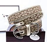"COACH Mini Signature Leather Collar with Engraveable Charm 60339 Limited Edition - Khaki/Camel, X-Large (22""-26"")"