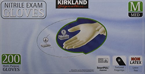 Kirkland Signature Latex-Free Nitrile Exam Multi-Purpose Gloves, Medium, 400 Count by Kirkland Signature