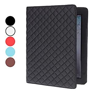 Lattice Design PU Leather Case with Stand for iPad 4 , Red
