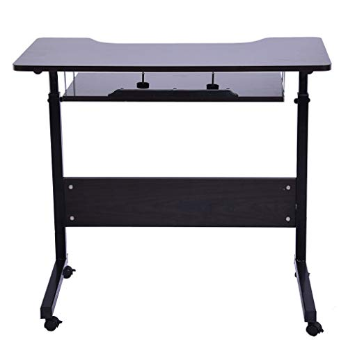 Computer Desk, Lucoo Home Office Desk Gaming Desk Can Be Raised and Lowered Mobile Adjustable Computer Desk Folding Laptop Table Notebook Desk (Us Store) (Black, 31.49x15.7x27.5-35.4(in))