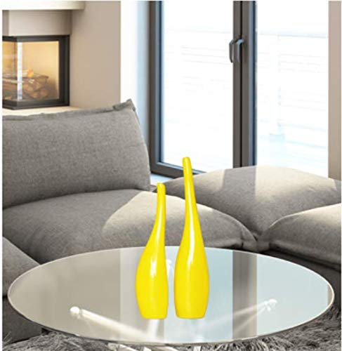 Yowinlo Statue Ornaments Sculptures Creative Black And White Simple Ornaments Ornaments Living Room Tv Cabinet Wine Cabinet Crafts Furnishings Ceramic Art Vase Yellow Curved Bottle Pair