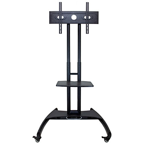 LUXOR FP2500 Adjustable Height LED LCD Flat Panel Mount Cart with Shelf, Gray