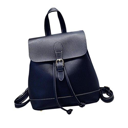 Backpack Shuohu Decor Bag Faux Black Shoulder Buckle Vintage Rucksack Travel Women's Leather ZrIwrCq