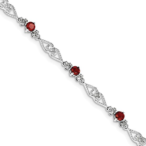 (ICE CARATS 925 Sterling Silver Diamond Red Garnet Bracelet 7 Inch Gemstone Fine Jewelry Ideal Gifts For Women Gift Set From Heart)