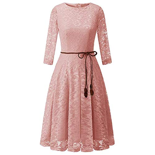 QIQIU Sexy Womens Retro Medieval Lace Ruffle Half Sleeve Square Neck Party Princess Cosplay Floor Length Dresses Pink ()