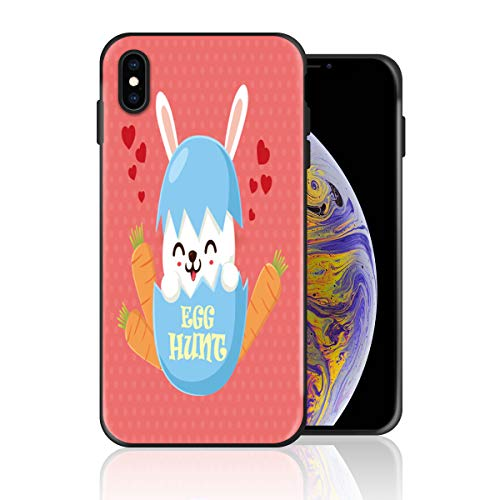 Silicone Case for iPhone XR, Cute Rabbit Egg Hunt Easter Day Rebirth Hope Design Printed Phone Case Full Body Protection Shockproof Anti-Scratch Drop Protection Cover