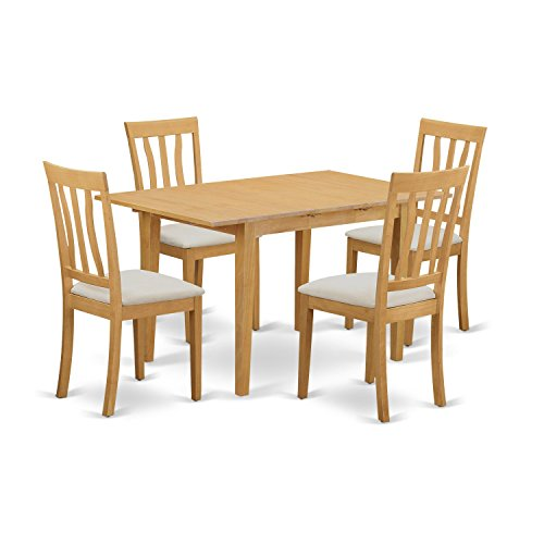 East West Furniture NOAN5-OAK-C 5 Piece Kitchen Dinette Table and 4 Chairs - Rectangular Oak Table Dining Set