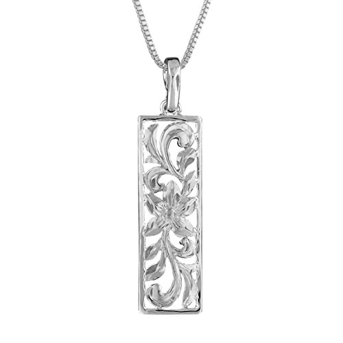(Sterling Silver Vertical Filigree Scroll Bar Pendant Necklace, 16+2