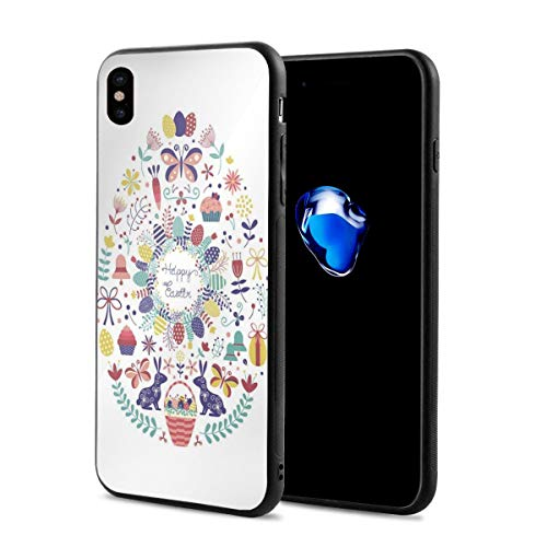 Phone Case Cover for iPhone X XS,Cursive Happy Easter Typography Spring Season Bells Baskets Rabbits Tea Time,Compatible with iPhone X/XS 5.8