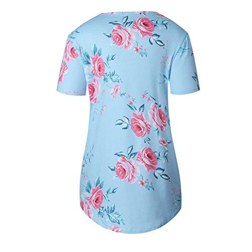 NiSeng Mujer Moda Impresión Cruzado En Cuello V Camiseta Verano Elegantes Manga Corta Flores Blusa Tops Cielo Azul