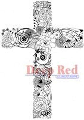 ShopForAllYou Stamping & Embossing Rubber Cling Stamp Whimsical Collage Floral Cross Love