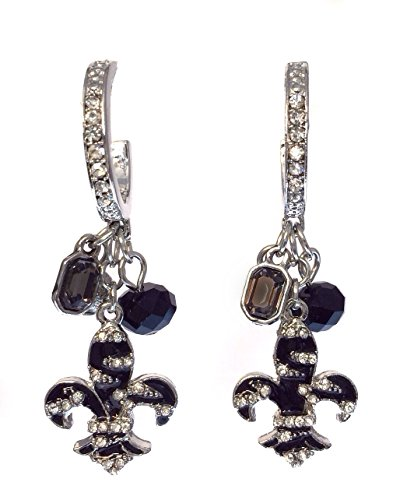 (Zebra Stripe Print Fleur De Lis Charm Clear Rhinestone Silver Tone Dangle Hoop Earrings)