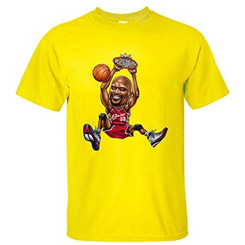 WDFO Shaq Slam Dunk Custom Men T Shirt Cotton yellow L