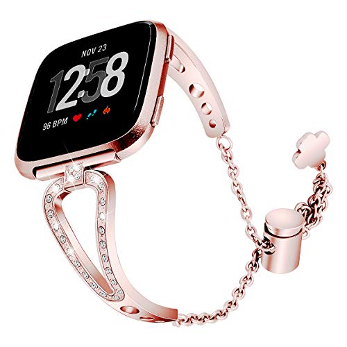 Jewonder Compatible with Fitbit Versa Bands for Women and Versa Lite and Special Edition Accessories Metal Stainless Steel Band Rhinestone Bracelet Bangle Rose Gold