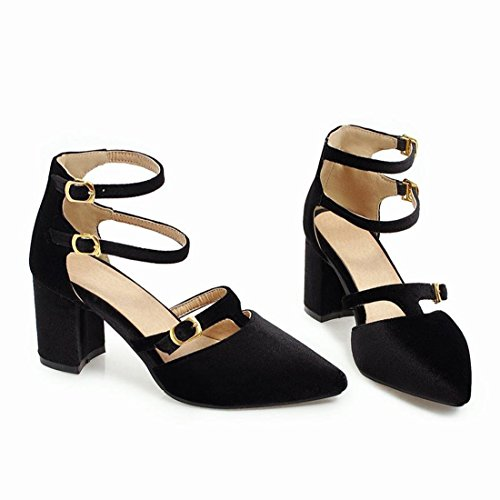 YE Womens High Block Heels Ankle Strap Court Shoes Pointed Toe Sandals Summer Pumps Black FCcQZA
