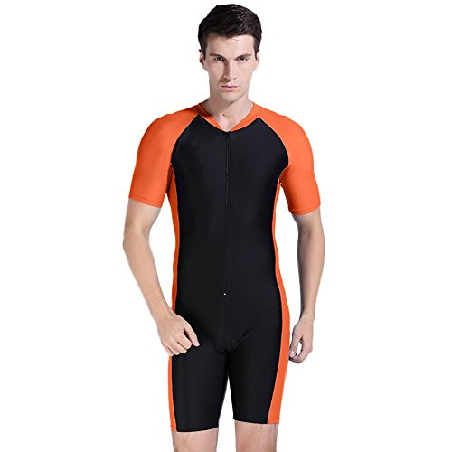 Men's One Piece Short Sleeve Swimsuit Surfing Sun Protection (Asian L, Orange Black)