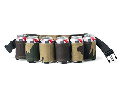 BigMouth Inc Beer Belt / 6 Pack Holster (Camo), Army Camouflage Adjustable 6-pack Holder Gag Gift, Perfect for Cans and Bottles at Parties