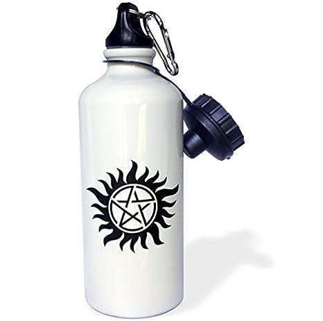 wenyige8216 Supernatural símbolo deportes botella de agua, rojo, color blanco: Amazon.es: Deportes y aire libre