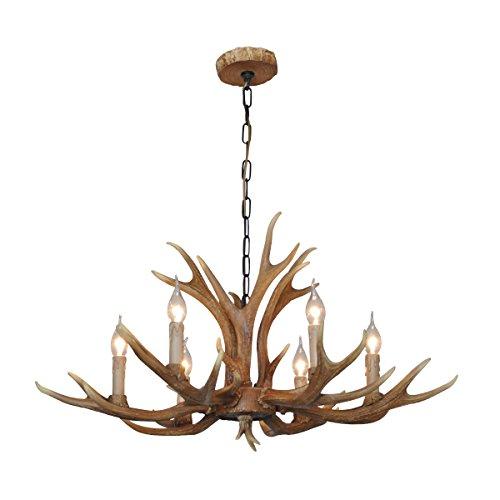 Shengdi Deer Horn E12 BUlb 6-Light Iron Resin Industrial Retro Droplight Pendant lamp Ceiling lamp Ceiling light Chandelier Lighting Fixture for Restaurant Balcony Bedroom Coffee (Three Light Deer Antler)