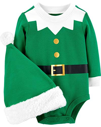 Carter's Unisex Baby 2-Piece Christmas Bodysuit & Hat Set (6 Months, Green Elf)