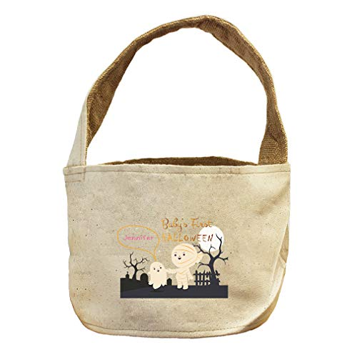 Style In Print Custom Text First Halloween Mummy Graveyard Canvas and Burlap Storage Basket