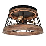 Baiwaiz Round Farmhouse Ceiling Light, Metal and Wood Rustic Ceiling Flush Mount Lights Industrial Wire Cage Lighting 3 Lights Edison E12 087
