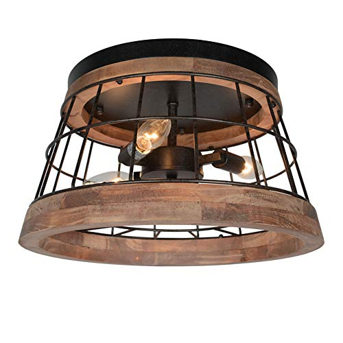- Baiwaiz Round Farmhouse Ceiling Light, Metal and Wood Rustic Ceiling Flush Mount Lights Industrial Wire Cage Lighting 3 Lights Edison E12 087