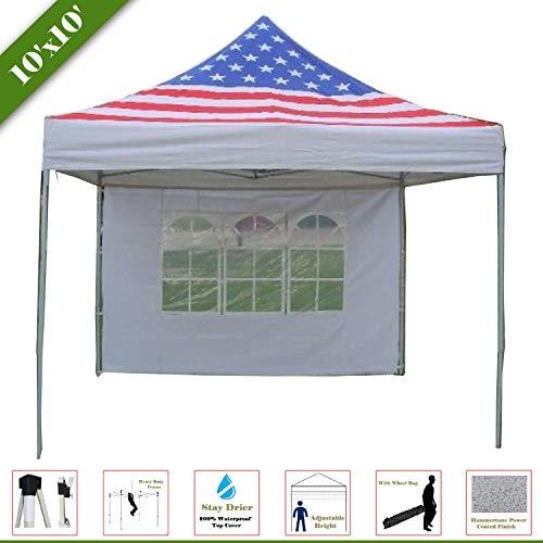 Flag Canopy - 10'x10' Pop Up Canopy Party Tent Gazebo EZ American Flag - F Model