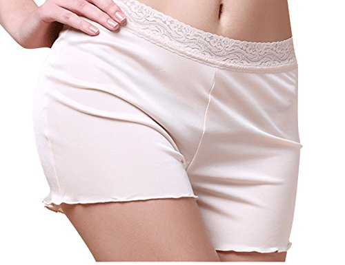METWAY Women's Silk Panties Mulberry Silk Lace Boy Shorts Underwear Small, -