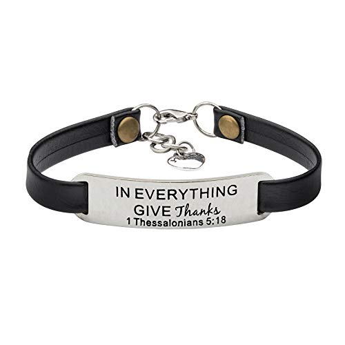 UNQJRY Appreciation Gifts for Women Thanksgiving Day Leather Bracelet Jewelry in Everything give Thanks