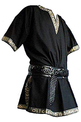 (Men's Vintage Medieval V-Neck Shirt Pirate Warriors Costume Gothic Short Sleeves Viking Clothing (XXL,)
