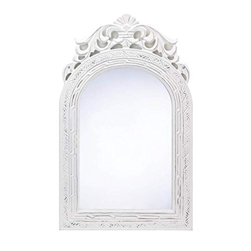 y Distressed Mirror White Wood Vintage Chic Arched Bathroom Entry Carved Cottage Weathered Farmhouse French Decor Style Panel Country ()