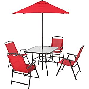 6-Piece Red Powder-Coated Steel Frame Water Wave Tempered Glass Top Folding Dining Set