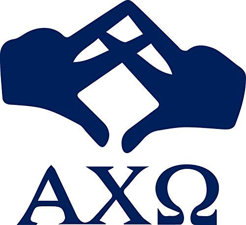 NBFU DECALS Alpha Chi Omega Hand Sign (Navy Blue) (Set of 2) Premium Waterproof Vinyl Decal Stickers for Laptop Phone Accessory Helmet Car Window Bumper Mug Tuber Cup Door Wall Decoration