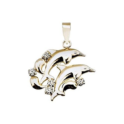 Pendentif 18k zircons de dauphins d'or [AA4829]