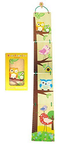 Foldable Wooden Growth Chart Birds