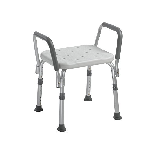 Drive Medical Knock Down Bath Bench with Padded Arms, White