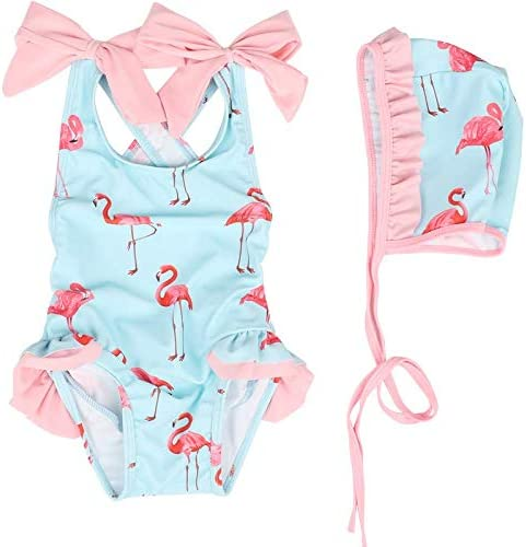 Baby Girl Flamingo Swimsuit Cute One Piece Swimwear with Swim Hat for 6 Month Baby - 6T Toddler Kid
