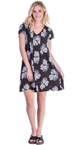 (Peppermint Bay A-Line Short Sleeve Dress - Short Rayon Wild Palms (Black/White, Small (6-8)))