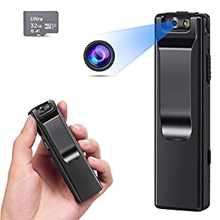 KOPUO Mini Body Camera, Wireless 1080P Security Wearable Body Camera Motion Activated Indoor Outdoor Small Nanny Cam for Cars Home Apartment(with 32G Card)