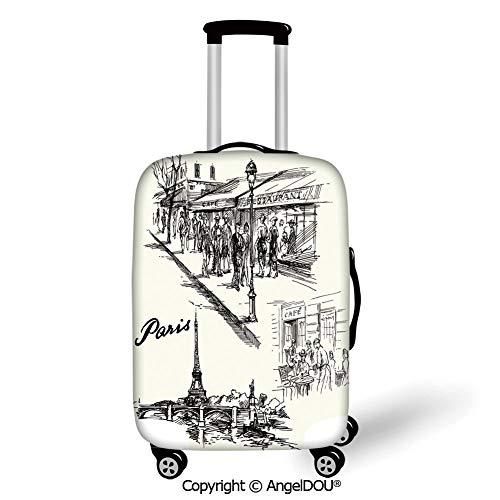 AngelDOU Thicker Spandex Travel Suitcase Protective Cover Eiffel Tower Decor Paris Sketch Style Cafe Restaurant Landmark Canal Boat Streetlamp Retro Art Print Black White Trolley Dust Rain Bags Acces ()
