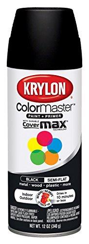 Krylon K05356507 ColorMaster Paint + Primer, Semi-Flat, Black, 12 oz.