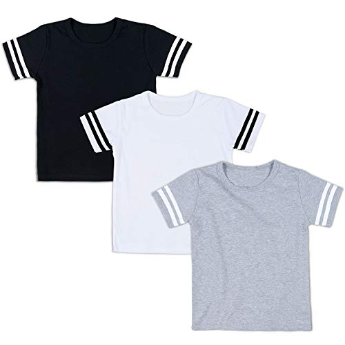 Shirt Football Boys Jersey - DEFAHN Toddler Plain Football Jersey Kids Boys Girls Short Sleeve Tee Shirt 2-5 Years (Solid Black White Grey 3 Pack, 4T)