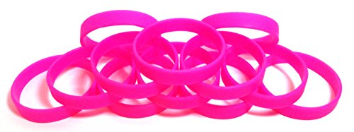 1 Dozen Multi-Pack Hot Pink Wristbands Bracelets Silicone Rubber - Select from a Variety of Colors (Hot Pink, Youth (7