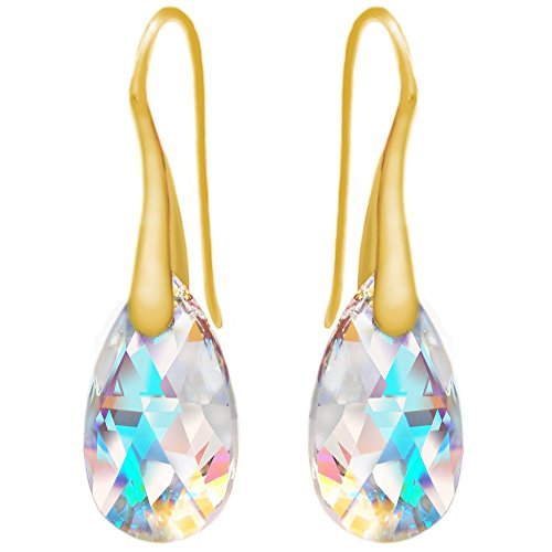- 24CT Yellow Gold Plated Sterling Silver Blue Aurora Borealis with Swarovski Crystals Drop Hook Earrings