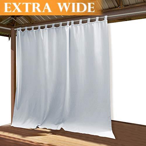 RYB HOME Outdoor Décor Curtains Outdoor Window Shade Solid Heavy Duty Panel Sliding Top Tab, Waterproof Sun Light Block Side Wall Panel for Cabana/Gazebo/Patio, 100 x 120 Long, Grayish White