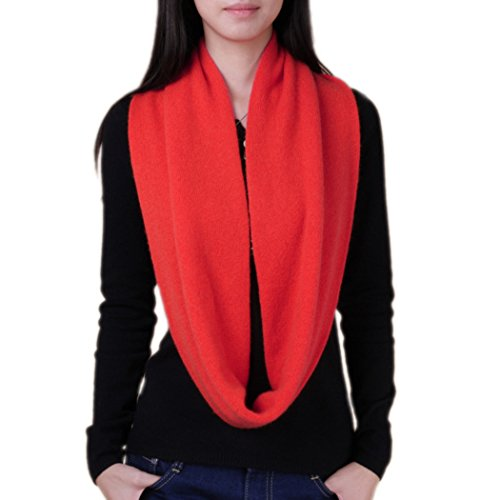 Novawo Women's Men's Super Soft Cashmere Solid Infinity Scarf (Red)