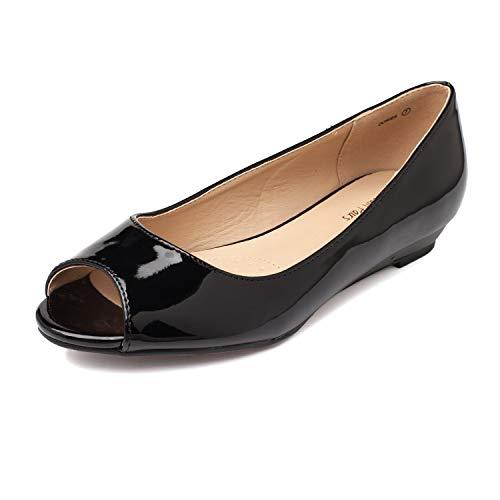 DREAM PAIRS Women's Dories Black Pat Low Wedge Peep Toe Flats Shoes Size 7 M US